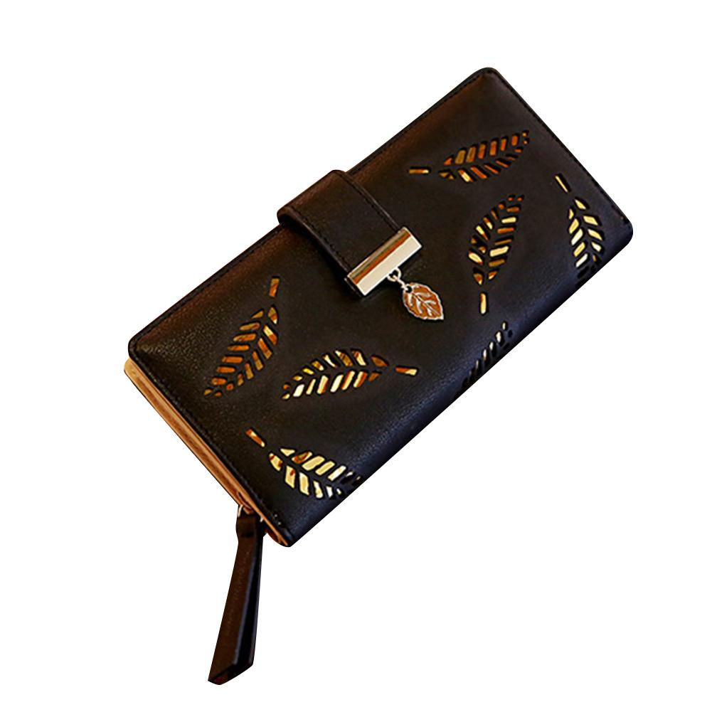 2020 Fashion Women Hollow Leaf Card Coin Purse Long Wallet Zipper Buckle Clutches Bag Portofele Dama Christmas Gift