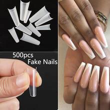 500 шт белые прозрачные французские накладные ногти полные/половинные