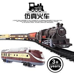 Электрическая игрушечная машинка на рельсе, детский электрический игрушечный набор поездов, гоночный автомобиль, транспорт, строительные ...