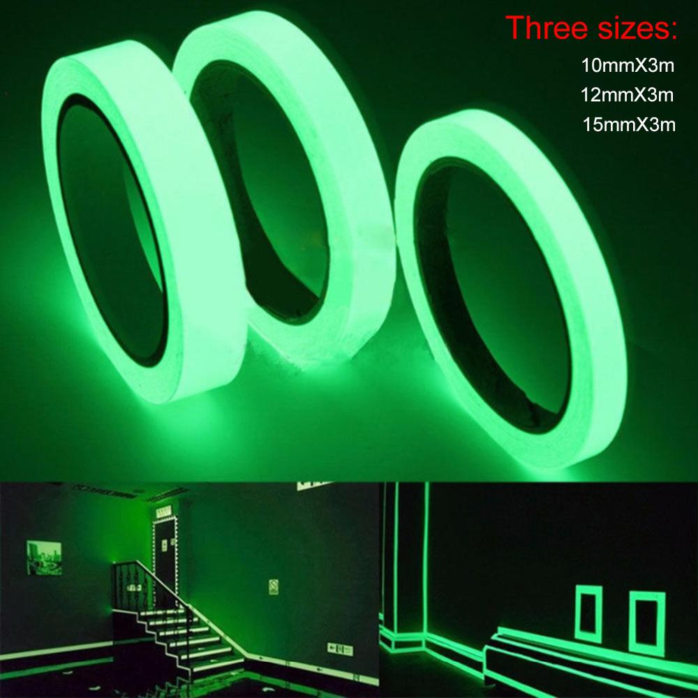3 Meters Luminous Reflective Glow Tape PET Warning Strip Stage Fluorescent Light Environmentally Friendly Tape