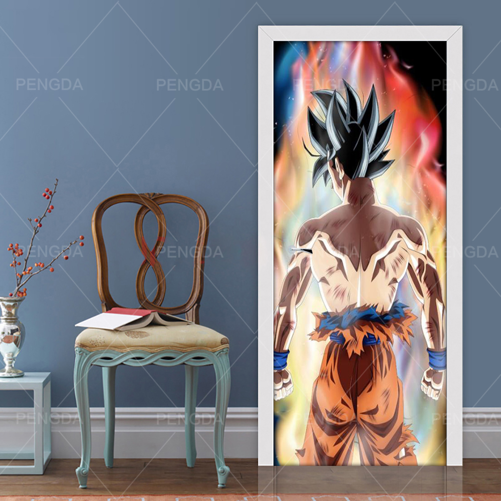 Sticker On The Door Self Adhesive Animation Dragon Ball Diy Print Picture Wall Art Home Decor Mural Wardrobe Renovation Decal