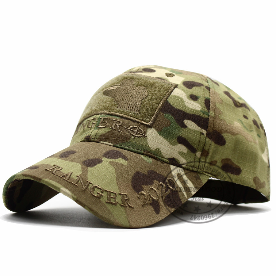 CAPSHOP MultiCam Sniper Ranger 2020 Embroidered Ball Cap Military Army Operator hat Tactical CP OD Cap with Loop for Patch 7