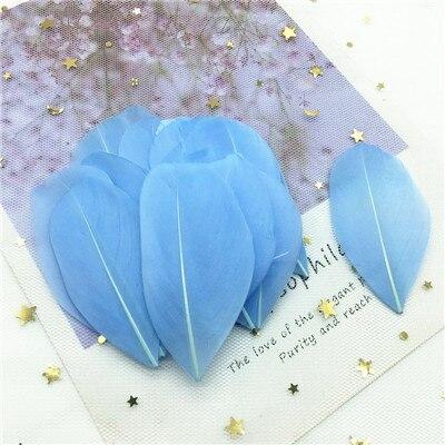 Натуральные гусиные перья 4-8 см, многоцветные белые перья, поделки своими руками, украшения для свадебной вечеринки, аксессуары, 50 шт - Цвет: light sky blue 50pcs