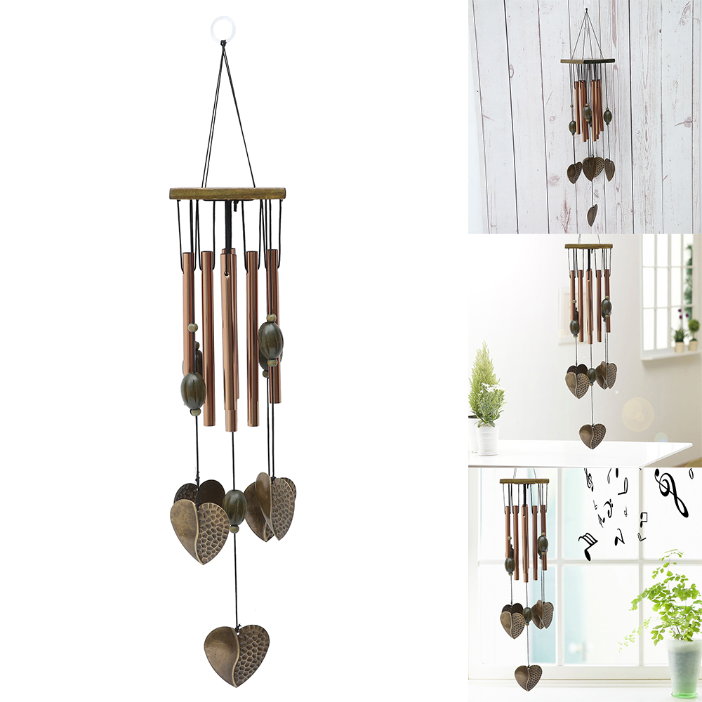 Antique House- Love Heart 8 Tubes/Fish Copper 6 Bells Relaxing Windchime Campanula Outdoor Living Yard Garden Decor Wind Chimes