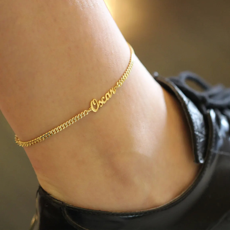 21+10CM Custom Name Anklet Bracelet Stainless Steel Personalized Nameplate Leg Chain Foot Handmade Stainless Steel Jewelry