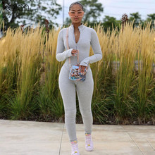 KLALIEN Casual Zipper Sporty Workout Womens Jumpsuit New Autumn Fashion Skinny Long Sleeve Athleisure Solid Bodycon Jumpsuits