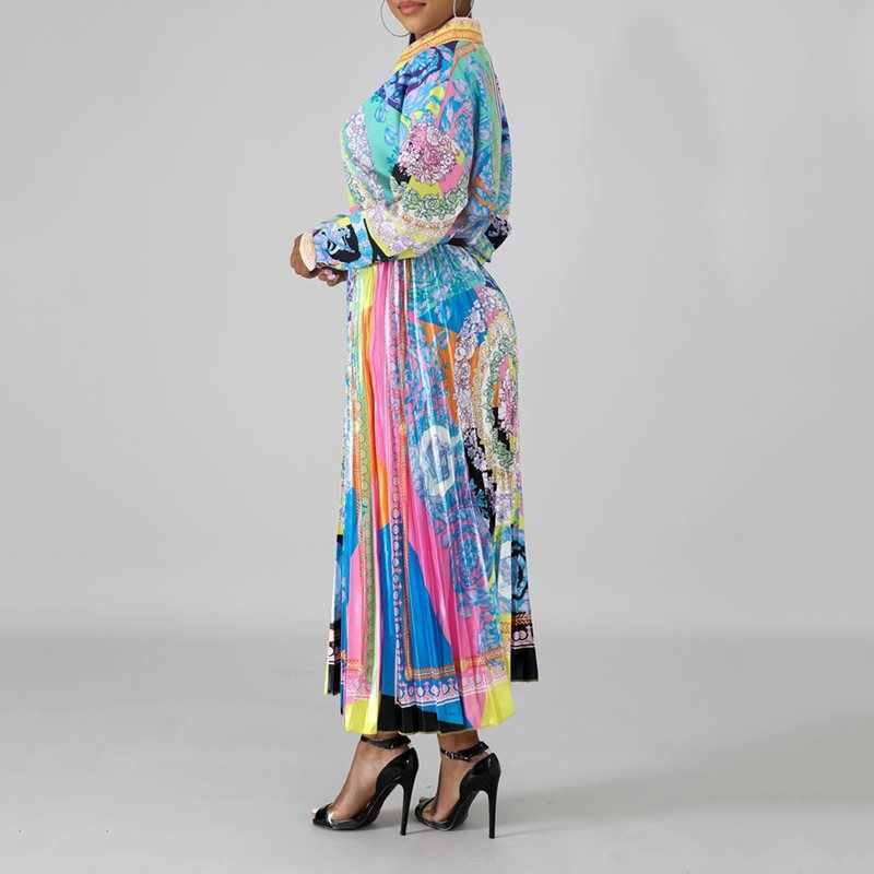 In hoa Tay Áo & Midi Váy Xếp Ly 2 Hai Mảnh Bộ Phù Hợp Với Mùa Thu Mùa Thu Công Sở Nữ Phù Hợp Với Trang Phục 2019