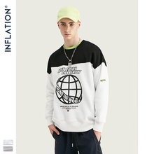 INFLATION Sweatshirt Men Contrast Colour Block Crew Neck Sweatshirt Oversized Fit Cotton Men Sweatshirt Sueter Masculino 9639W