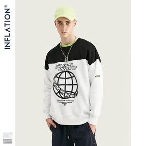 Image 1 - Inflação moletom homem contraste cor bloco tripulação pescoço moletom oversized ajuste algodão masculino sueter 9639 w