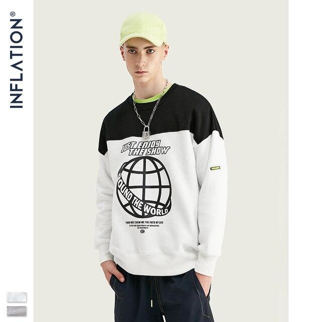 Inflação moletom homem contraste cor bloco tripulação pescoço moletom oversized ajuste algodão masculino sueter 9639 w