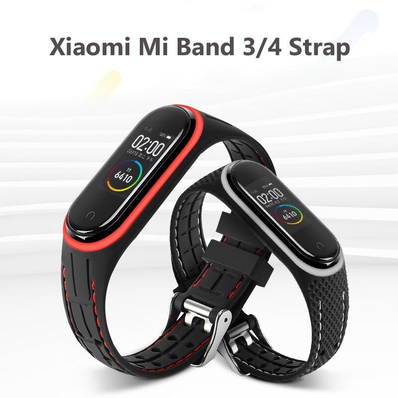for Mi Band 4 3 Strap Silicone Wrist Strap For Xiaomi Mi Band 3 4 Bracelet Miband 3 4 NFC...