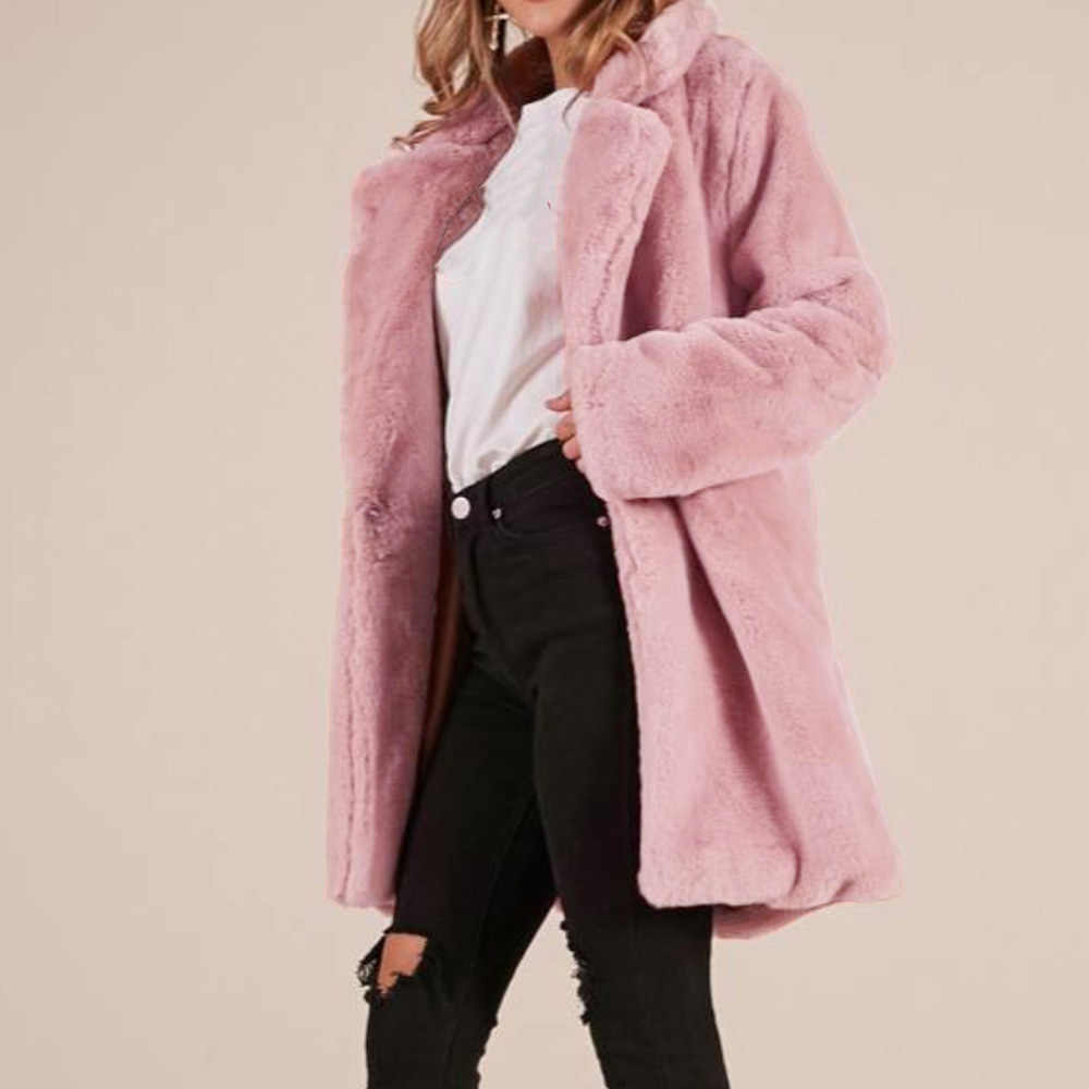 Wipalo Autumn Winter Women Faux Fur Coat Solid Lapel Pocket Plus Size Female Long Outwear Thick Warm Covered Button Woolen Coats