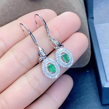925 sterling silver real Natural green Emerald Stud Earrings fine Jewelry gift women wedding plant new 3*5mm jce0305822agml