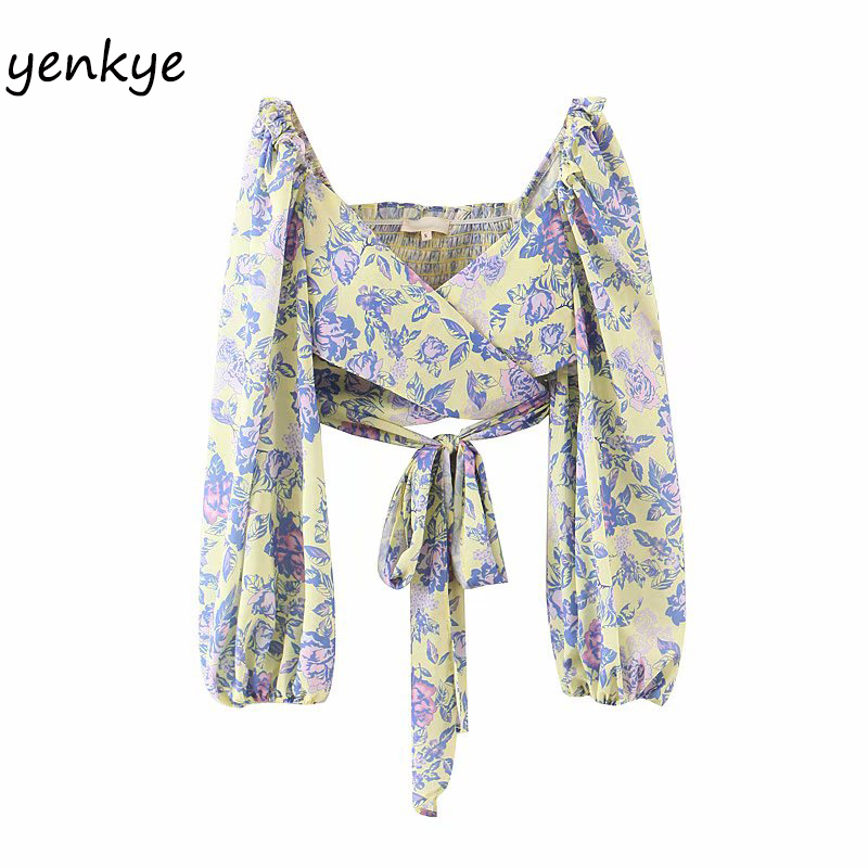 Floral Print  Wrap Boho Top Women Lantern Sleeve V Neck Sashes Crop Top   Holiday Summer Chiffon Tops  YF7457