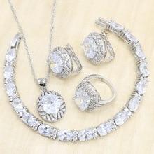 цена на White Zircon 925 Silver Jewelry Sets for Women Geometric Earrings Pendant Necklace Rings Bracelet Wedding Gift