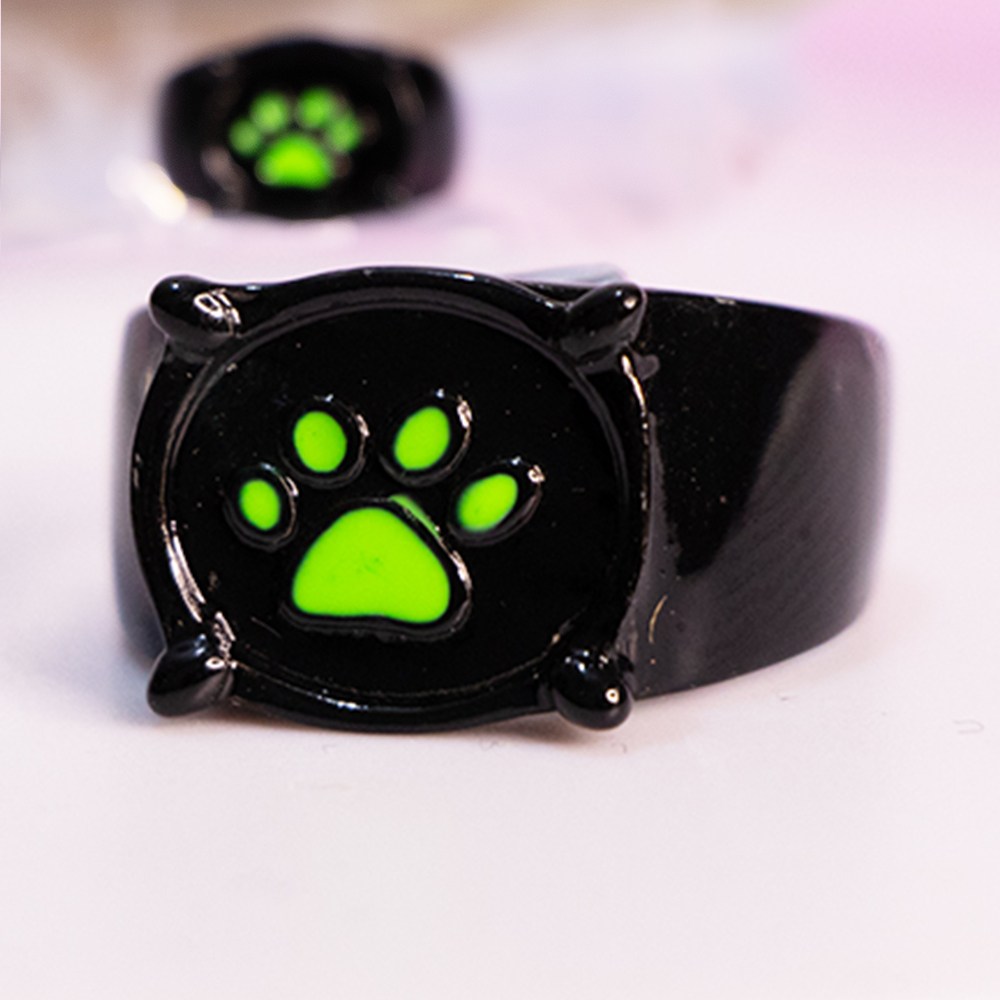 Cartoon Cat Noir Ring Green Paw Print Fashion Lovely Ladybug Geometric Black Rings for Men Women Party Jewelry Birthday Gifts