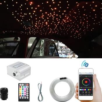 Bluetooth Smartphone APP Control Fiber Optic Light Music Control Starry Ceiling Lighting Twinkle Effect  Car Roof LED  Star Ligh 16w light engine 0 75 1 1 5mm fiber optic star ceiling light for andre baccili benevides
