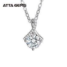 Att – collier pendentif en argent 925 pour femme, excellente coupe, passe le Test du diamant, couleur 1-2 ct D, bonne clarté, VVS1, Moissanite, cadeau