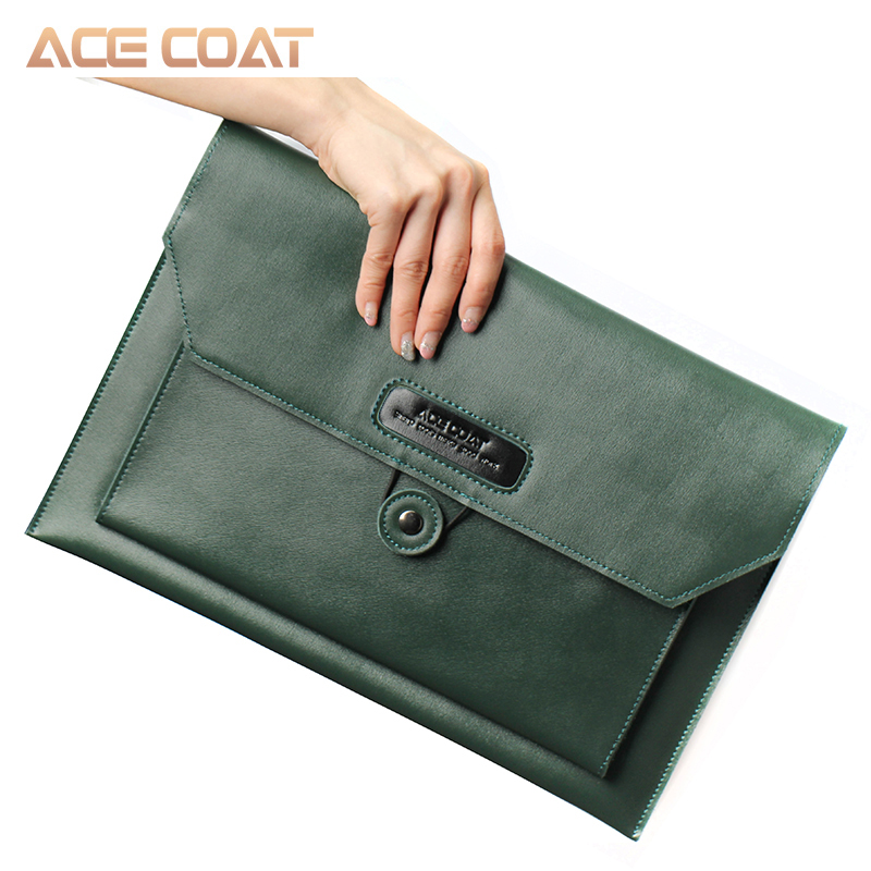 ACECOAT pochette pour ordinateur portable en cuir fendu sac avec poignée et poches pour MacBook Air/Pro 13/15/16 pochette pour macbook pro 13