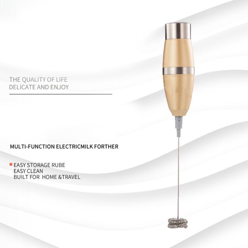 Double Spring Whisk Head Electric Milk Frother Stainless Steel Handheld Milk Foamer Drink Mixer for Coffee Cappuccino