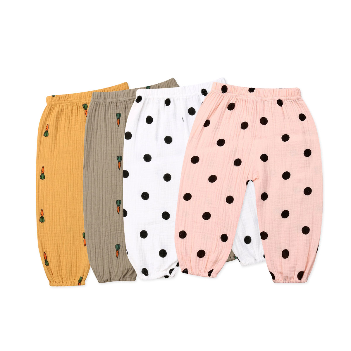 6M-3Years Newborn Toddler Baby Girls Pants Autumn Spring Dot Carrot Print Infant Girl Pants Casual Trousers