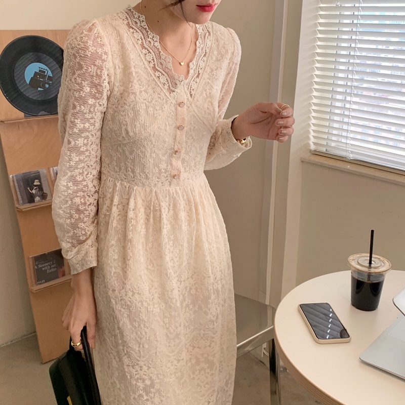 Hb59e618405c9486fb4a21e36f1bf6beb4 - Spring / Autumn V-Neck Long Sleeves Lace Midi Dress