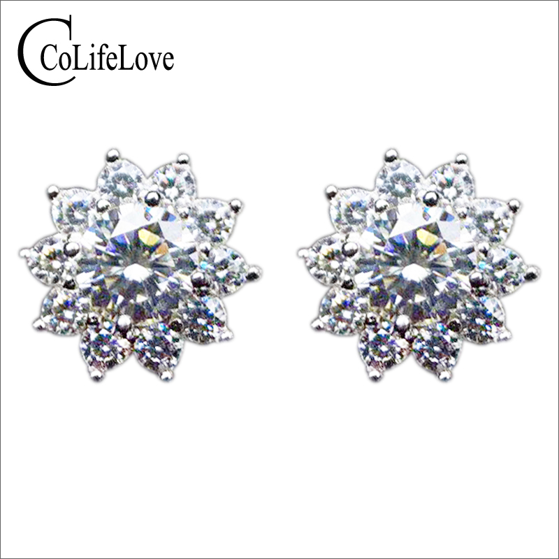 925 silver Moissanite stud earrings for office 0.5 ct Round Brilliant cut Moissanite earrings sterling silver Moissanite jewelry