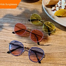 MYT_0185 New Round Kids SunGlasses Baby Sun Glasses Girls And Boy Retro Solid Vintage Oculos simple Eyewear UV400