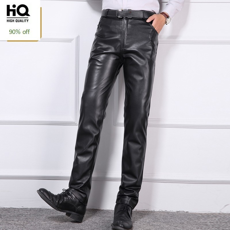Plus Size 40 Mens Business Casual Trouser Real Leather Slim High Quality Mid Waist Zipper Full Length Pants Sheepskin Motor Mans