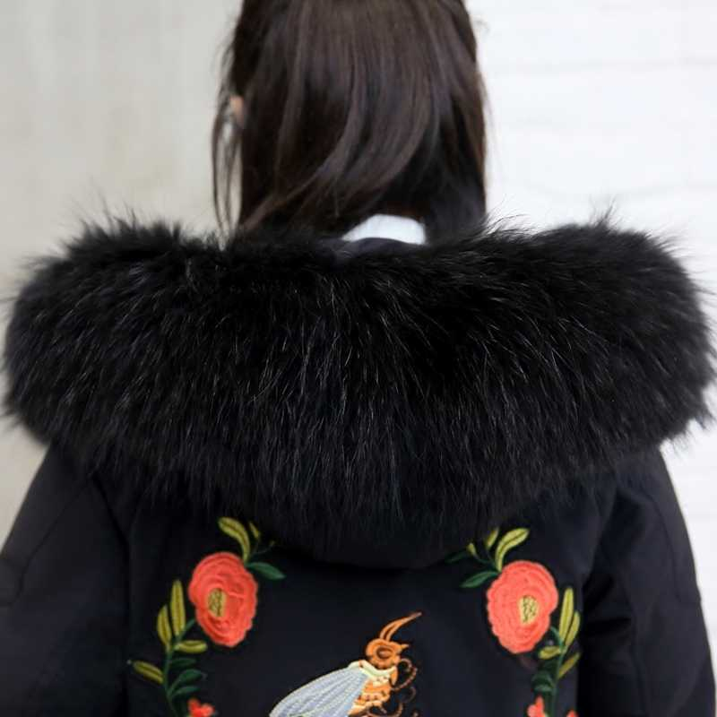 2020 Parka kış ceket kadın kıyafetleri aşağı pamuklu uzun ceket nakış kore sıcak Parkas büyük kürk yaka palto KJ2894