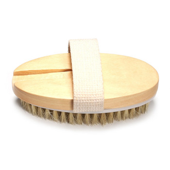 2 in 1 Body Bath Massage Brush Soft Bristle Oval Wooden Shower Brush with Grip Strap OR88