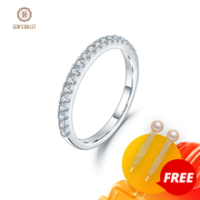 GEMS BALLET 925 Sterling Silver Half Eternity Wedding Band Ring Real Moissanite Ring For Women Fine Jewelry 1.5mm EF color