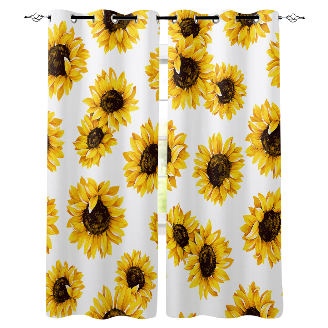 Yellow Flower Warm Sunflower Window Treatments Curtains Valance Bedroom Kitchen Indoor Floral Decor Curtain Panels With Grommets Aliexpress