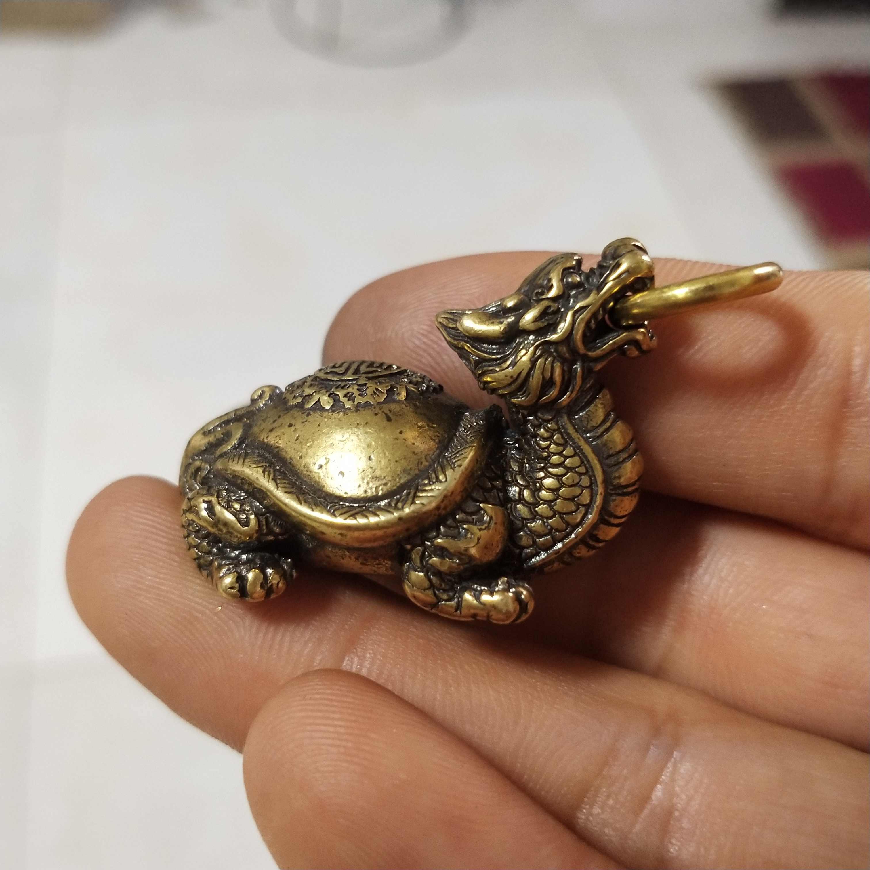 Bakır Heykel Koleksiyon Çin Pirinç Oyma Ejderha Kafası Kaplumbağa Exorcise kötü Ve Aramak Servet Zarif Küçük Heykeller