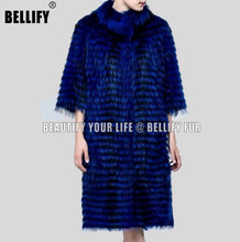 Latest Milan Collections celebrities Love most royal Blue genuine fox fur trench coats outerwear