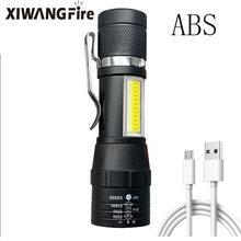 T6 led bolso lanterna forte luz zoom 3 modos usb recarregável liga de alumínio portátil lanterna à prova dwaterproof água com gancho clipe