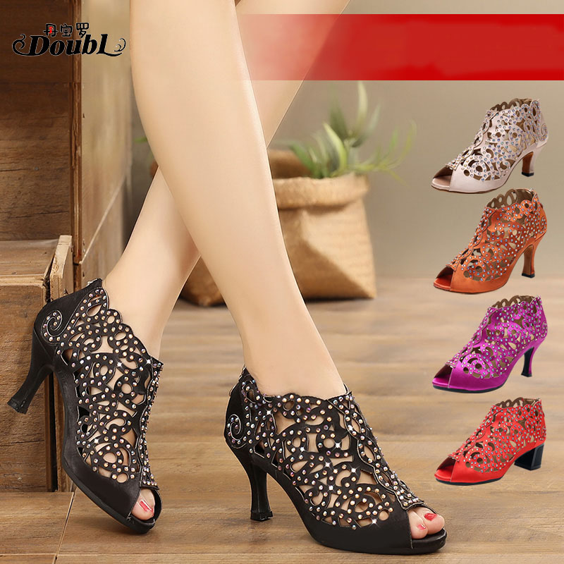 Diamond Latin dance shoes adult women/'s ballroom dancing shoes heel customize