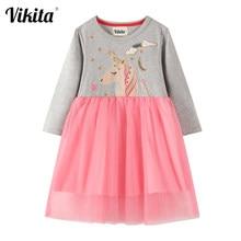 VIKITA çocuklar karikatür elbise kızlar Unicorn aplike elbiseler bebek kız prenses elbise parti giysileri sonbahar için uzun kollu elbiseler