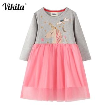 VIKITA Kids Cartoon Dress Girls Unicorn Appliqued Dresses Baby Girl Princess Party Costumes Autumn Long Sleeve