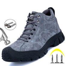Skórzane obuwie robocze bezpieczeństwo stalowe Toe buty męskie niezniszczalne trampki męskie buty turystyczne buty ciepłe męskie obuwie obuwie ochronne męskie
