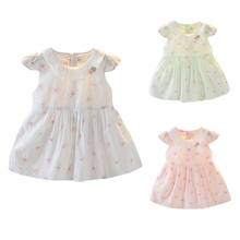 New Hot Summer Baby Girls Floral Print Flare Sleeve Dress Kids Toddler Bow Princess Dresses 2020 girls floral print bow back mesh overlay dress
