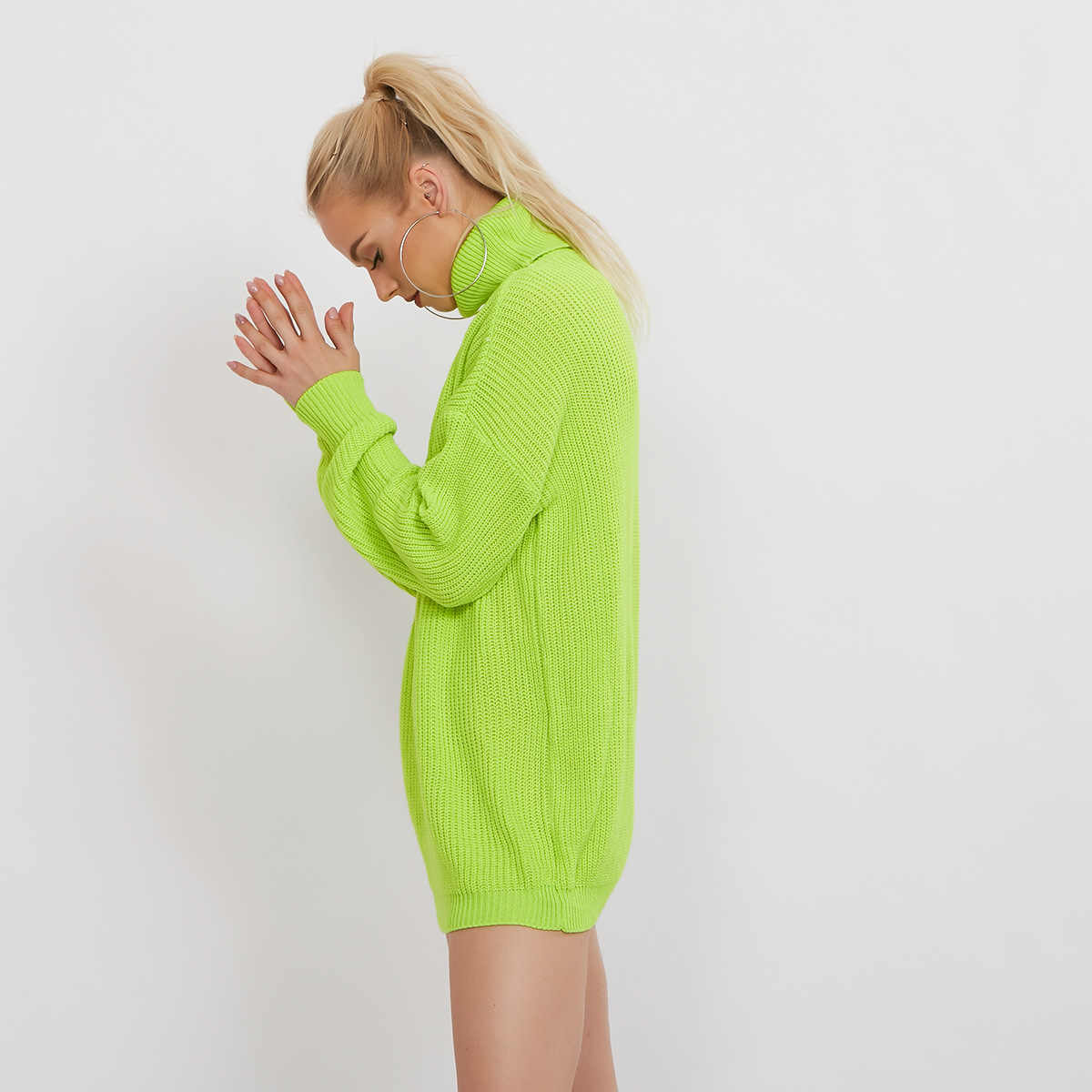 Women's Neon Sweater Dress Girl's Knitting Oversized
