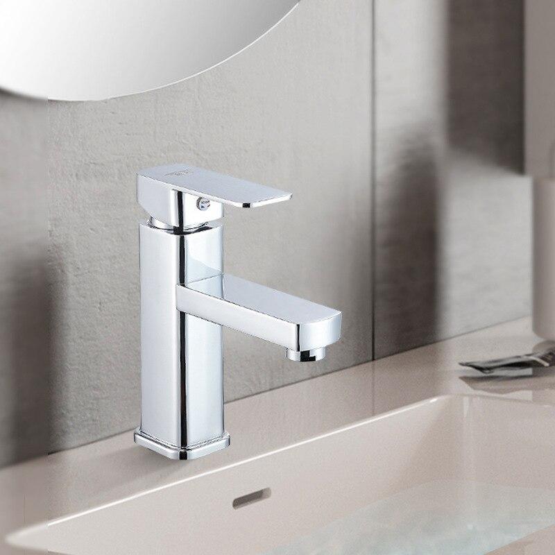 Xing Lang Sanitary Ware Square Single Bore Faucet Basin Faucet Hot And Cold Faucet Bathroom Single Bore Alloy Mixing Faucet