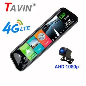 4G Android 8.1DVR 10 polegada tela de toque Traço cam Espelho Retrovisor espelho DVR Super night 1080P com traseira gravador de Vídeo da câmera