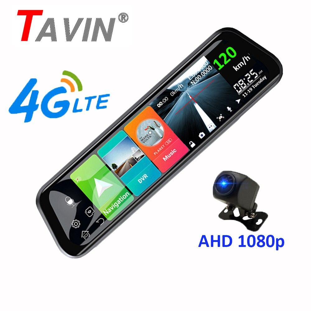 Caméra de tableau de bord Android 8.1DVR | 4G, caméra de tableau de bord, écran tactile 10 pouces, rétroviseur DVR Super night 1080P avec caméra arrière, enregistreur vidéo