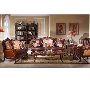 Classic Furniture Genuine Leather Wooden Sofa Set Designs Meble klasyczne skórzana Sofa drewniana GH65 image of modern wooden sofa set and couches designs in fabric for sale