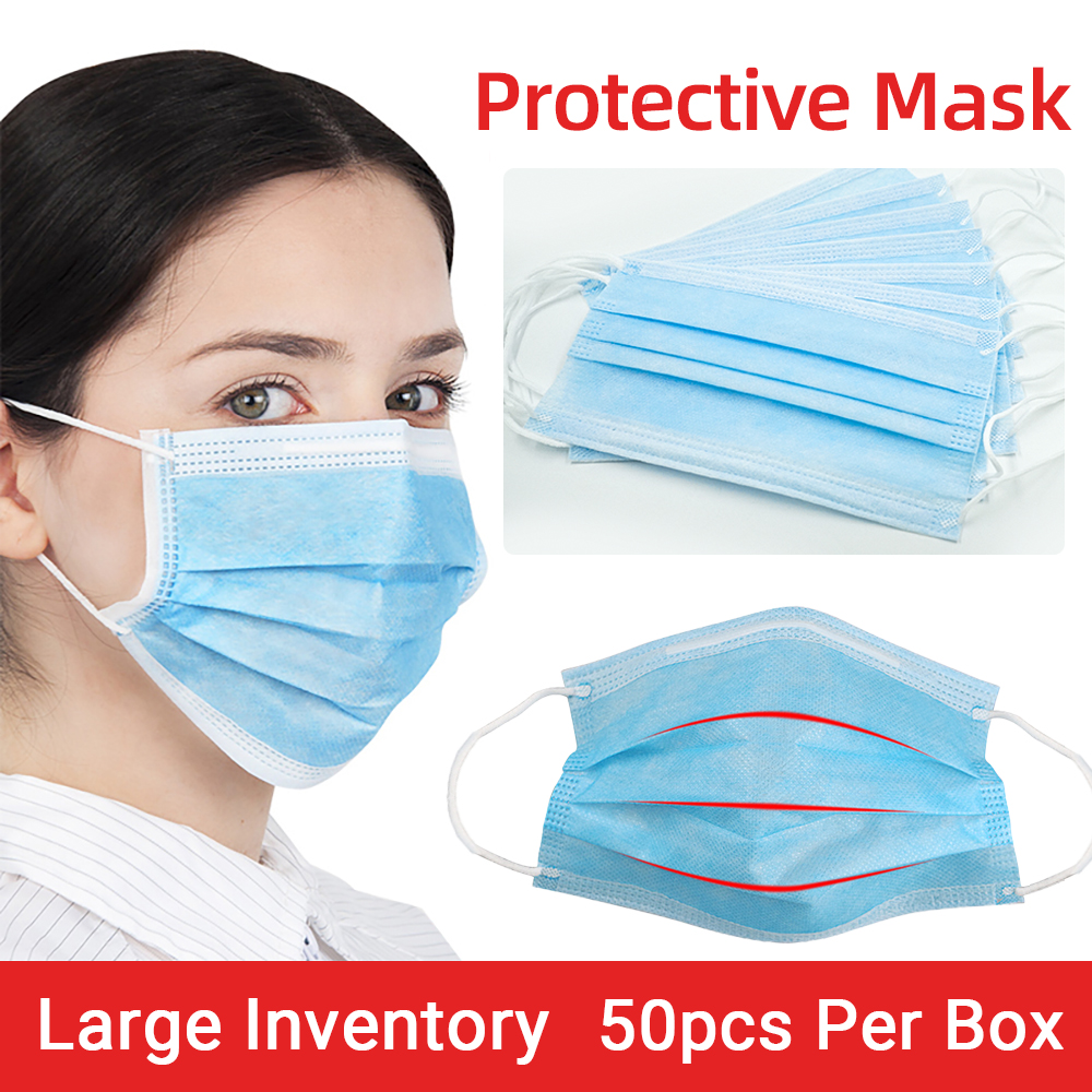 50pcs Disposable Masks 3-layer Protect Anti Dust Formaldehyde Bad Smell Protection Face Mouth Masks Safety Breathable With CE