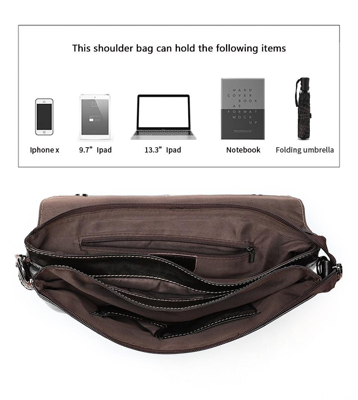 Hb59f2dd8ba9447c88e09386663717c88w Bag Men's Briefcase Genuine Leather Office Bags for Men Leather Laptop Bags Shoulder/Messenger Bag Business Briefcase Male 7909