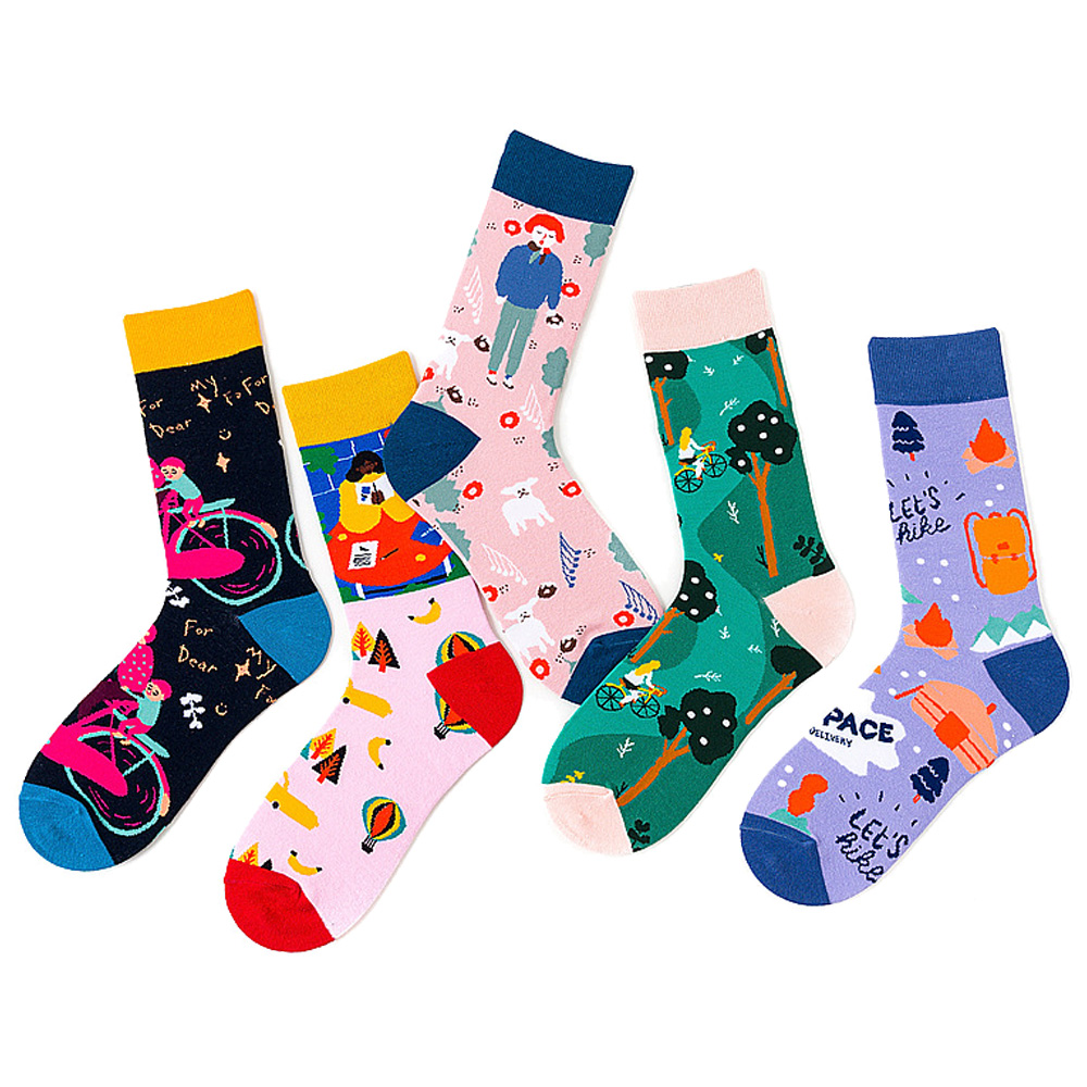 Colorful Cotton Funny Bicycle Dog Tree Happy Forest School Bag Alphabet Men's Socks Harajuku Graphic Socks For Christmas Gift
