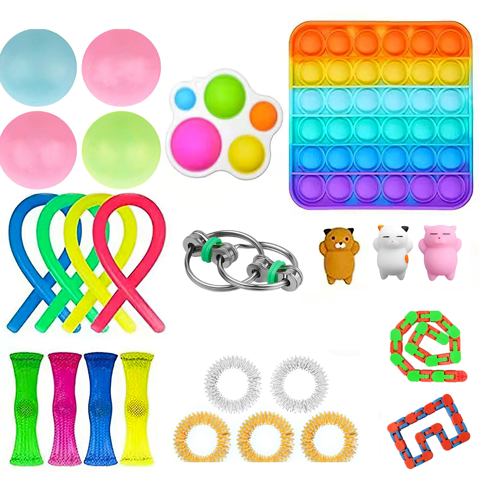 20/25PCS Package Fidget Sensory Toy Set Noodle Rope Anti-Stress Set Vent Decompression Toy AutismTong Relieve Anxiety Kids Adult